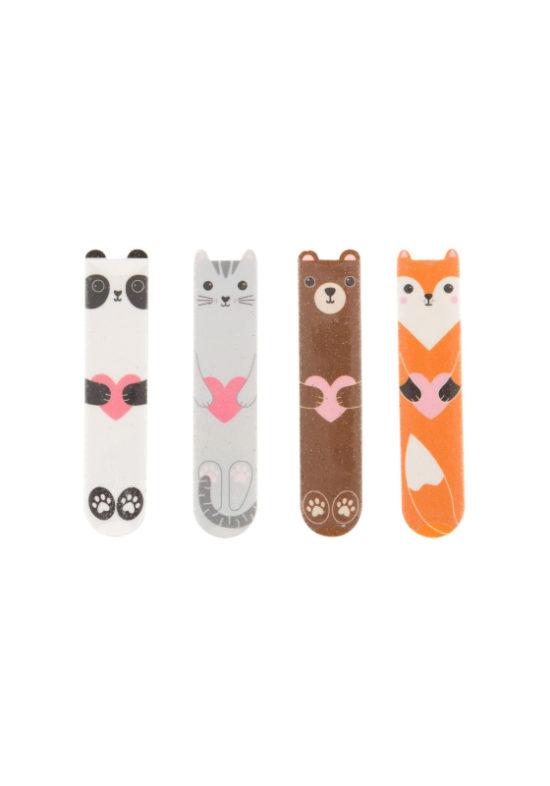 lima de uñas con forma de animales: zorro, oso, gato, panda