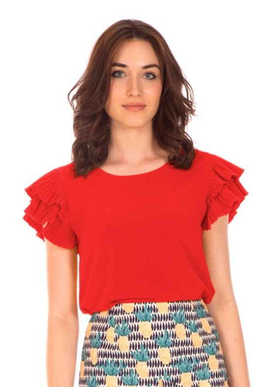 blusa-roja-manga-pliegue