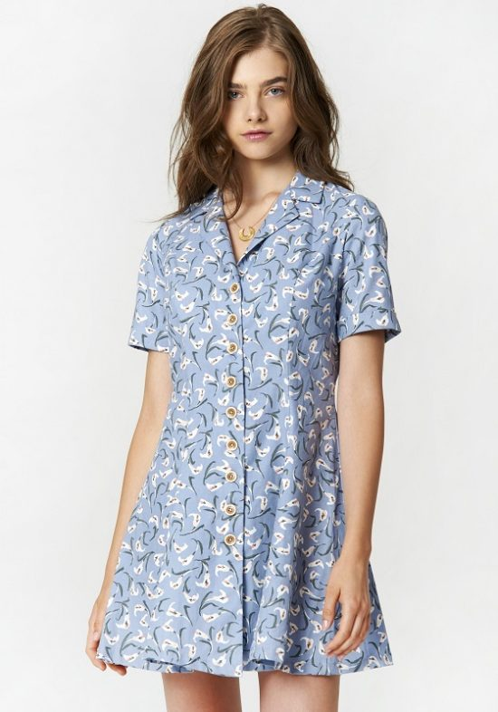 vestido-flower-azul-retro-camisero