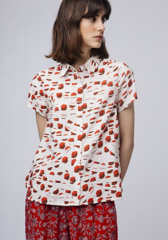 Camisa estampado geométrico-rojo