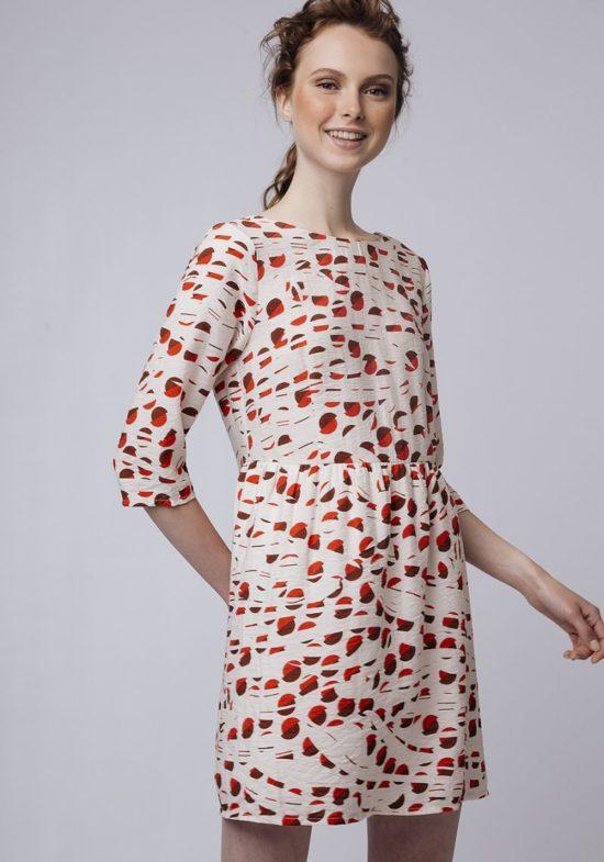 Vestido-corto-estampado-retro-rojo