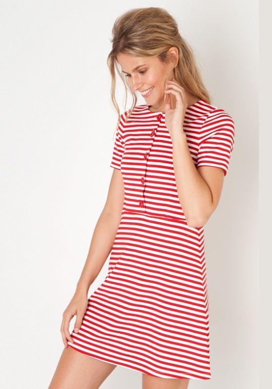 vestido-rayas-rojas-manga-corta
