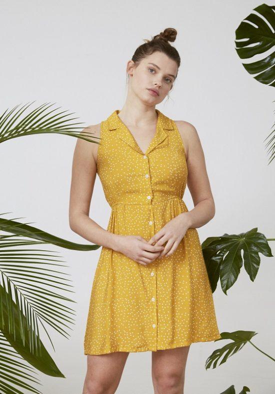 vestido-camisero-amarillo-topos-blancos