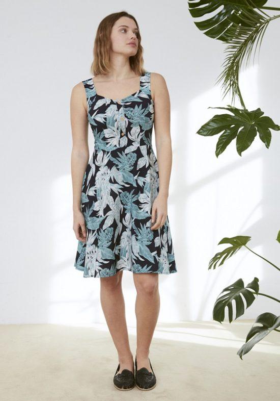 vestido-pinup-azul-estampado-hojas
