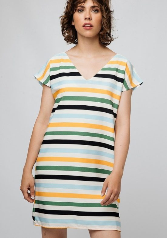 vestido-corto-rayas-mostaza-celeste-verde