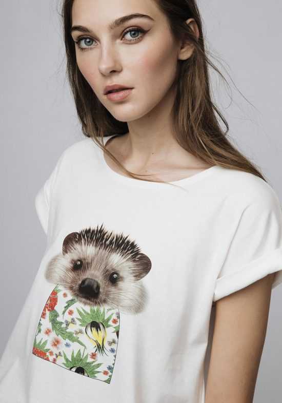 camiseta-blanca-estampado-erizo