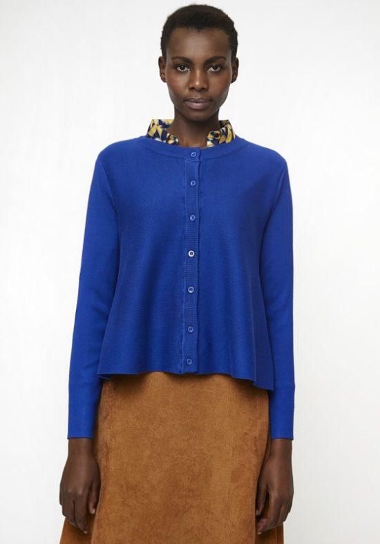 chaqueta-punto-azul-capa-cuello-redondo