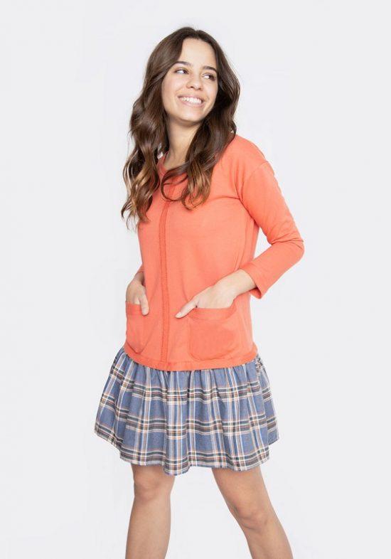 vestido-naranja-falda-cuadros