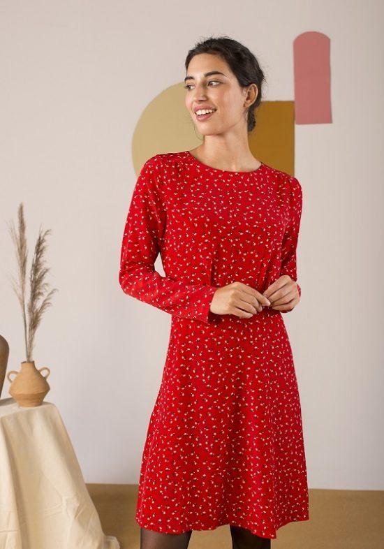 vestido-corto-rojo-mangas-largas